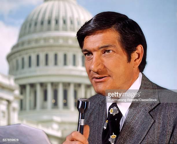 1970s MAN NEWS REPORTER...