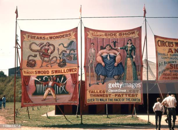 1970s PAINTED CANVAS CARNIVAL CIRCUS SIDESHOW BANNERS POSTERS