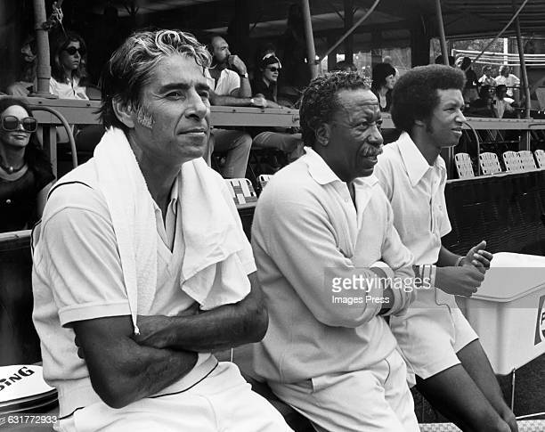 Pancho Gonzales Gordon Parks and Arthur Ashes circa 1970s in Forest Hills Queens