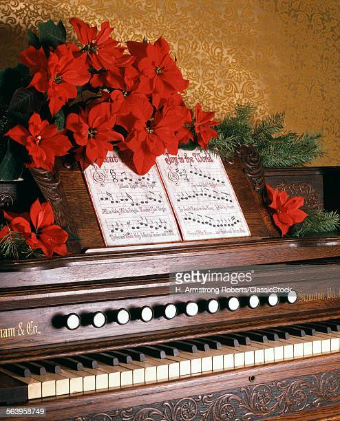 1970s PIANO CAROLS FLOWERS POINSETTIA