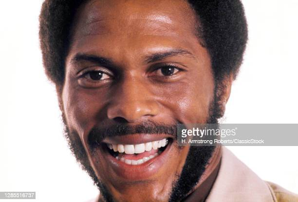 1970s Portrait African-American Professional Man With Beard And Mustache Close-Up Of Face Smiling Laughing Looking At Camera
