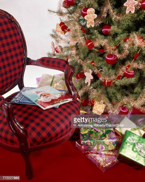 1970s RED PLAID ARMCHAIR HOLIDAY BOOKS BY CHRISTMAS TREE ORNAMENTS GIFTS GIFT PRESENTS UNDER TREE