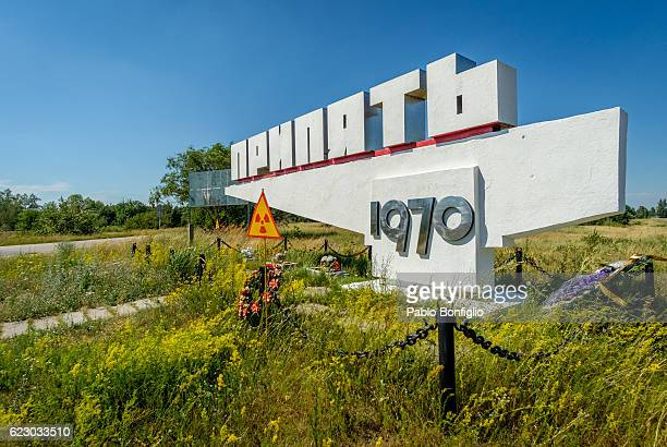 1970s sign for entrance to Pripyat in the Chernobyl Exclusion Zone, Ukraine