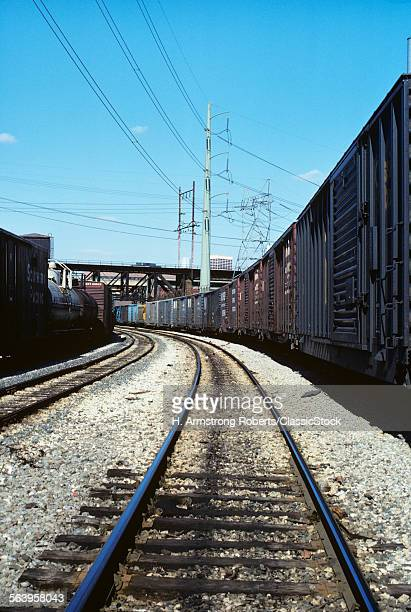 1970s TRAIN TRACKS RAILROAD AND POWER LINES