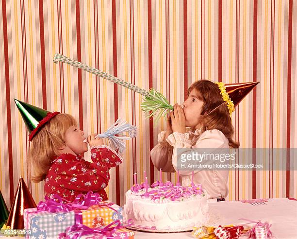 1970s TWO GIRLS PARTY HATS...