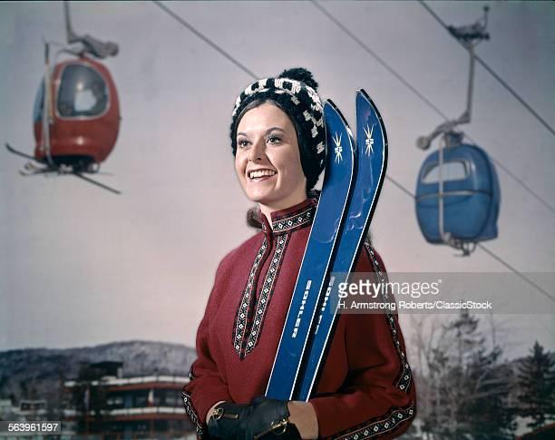 1970s WOMAN IN WINTER GEAR...