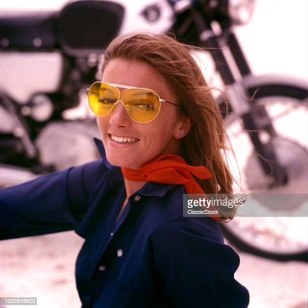 1970s WOMAN MOTORCYCLIST...