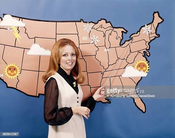 1970s WOMAN WEATHER GIRL METEOROLOGY METEOROLOGIST TELEVISION NEWS
