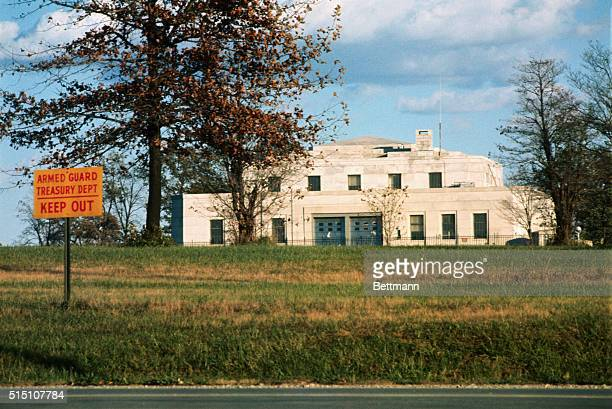 Exterior view of Federal Bullion Depository at Fort Knox Undated color slide
