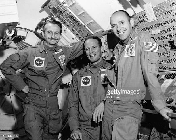 1973Johnson Space Center Houston Texas Skylab II astronauts Dr Owen K Garriott science pilot Jack R Lousma pilot and Alan L Bean commander The...