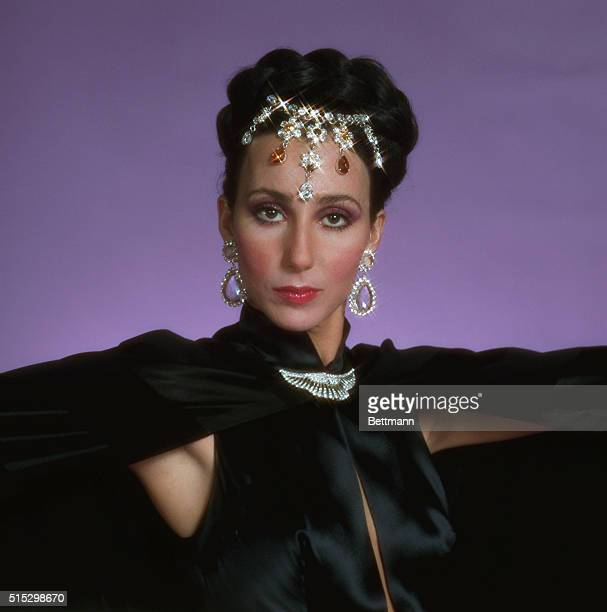 Head and shoulder shot of Cher Bono in costume and jewelry from The Sonny and Cher Comedy Hour Undated TV handout