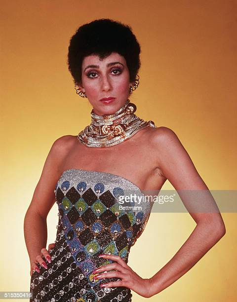 Singer Cher Bono in costume for her TV show 'The Sonny and Cher Comedy Hour' She is pictured here wearing a beaded dress and heavy necklaces on...
