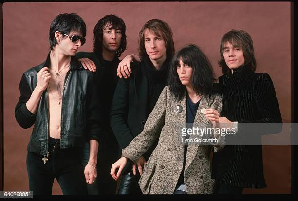 1977Studio portrait of punk musician Patti Smith and her her band Lenny Kaye Bruce Brody Jay Deee Daugherty Patti Smith and Ivan Kral