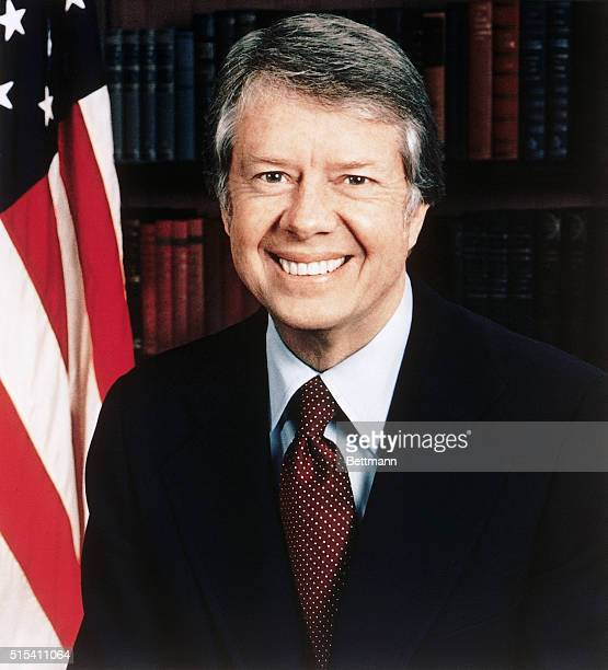 An official head and shoulders photograph of Jimmy Carter US President in his office at the White House