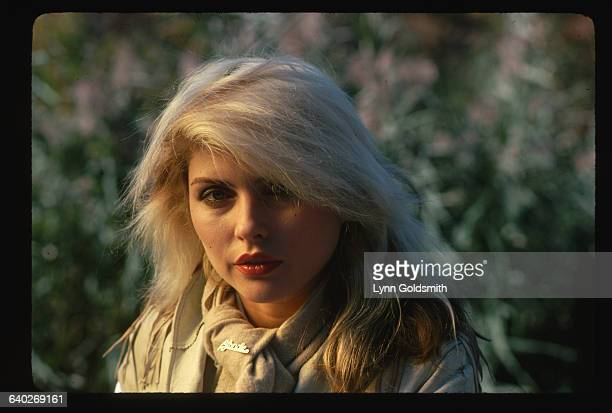 1978Photo shows Debbie Harry lead singer with the pop/New Wave group Blondie posed outside in this head and shoulders portrait
