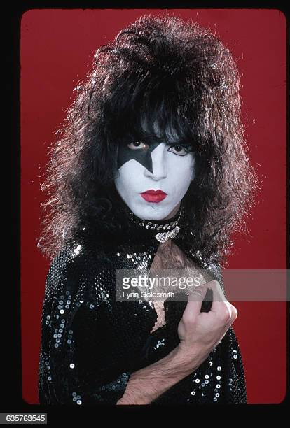Paul Stanley lead singer and guitarist with the rock and roll group KISS is shown in a studio portrait He is wearing makeup and a costume
