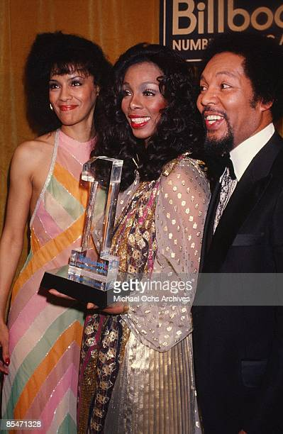 Queen of Disco Donna Summer poses for a portrait with singers Marilyn McCoo and Billy Davis Jr of the RB vocal group 5th Dimension at the 'Billboard...