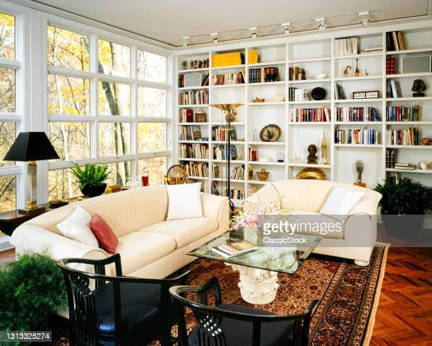 1980s 1990s Cozy Living Room With Sofa And Chair In Front Of Window Wall With Built-In Bookcase Bric-A-Brac Antique Oriental Rug.
