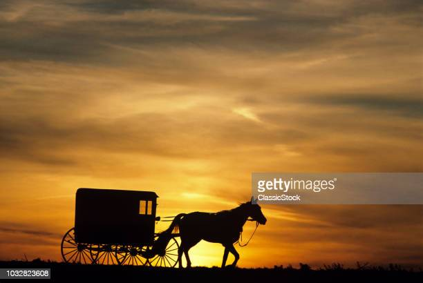 1980s AMISH HORSE AND BUGGY SILHOUETTED IN SUNSET LANCASTER COUNTY PA USA