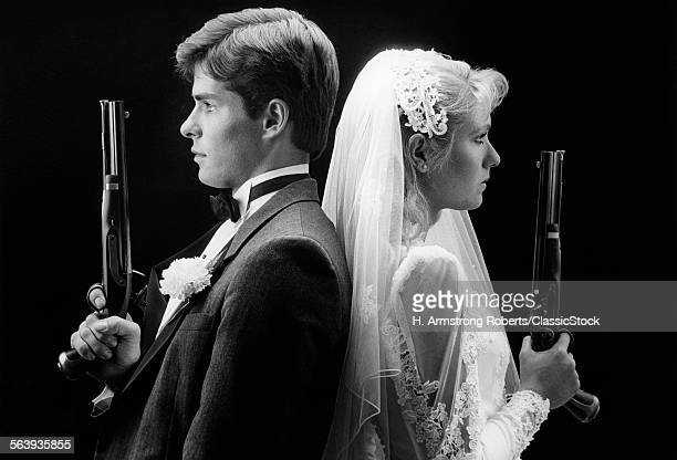 1980s BRIDE AND GROOM...