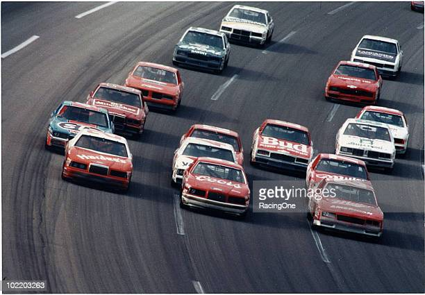 Cale Yarborough Bill Elliott and Bobby Allison lead some threewide NASCAR Winston Cup racing in the midÔ80s