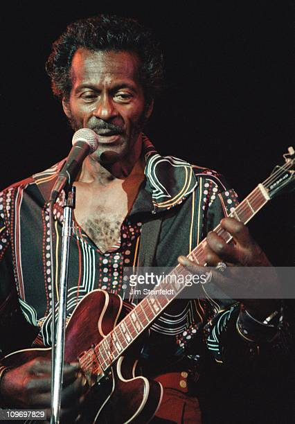 Chuck Berry performs at the very first concert ever held at the Hubert H Humphrey Metrodome in the early 1980s in Minneapolis Minnesota