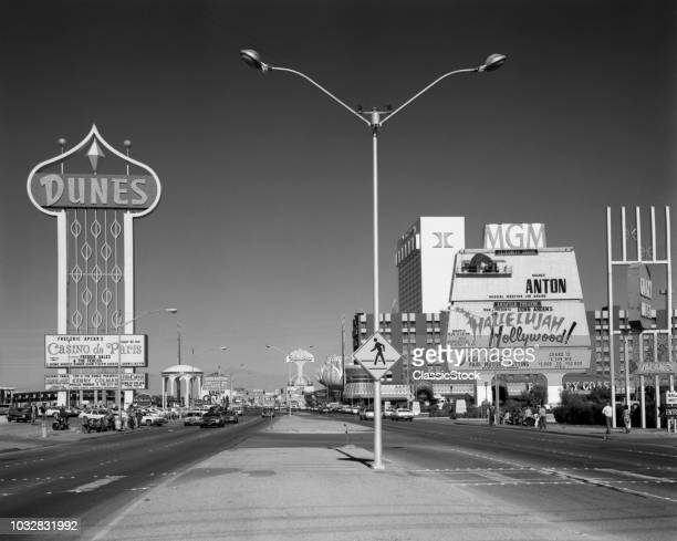 1980s DAYTIME THE STRIP WITH SIGNS FOR THE DUNES MGM FLAMINGO LAS VEGAS NEVADA USA