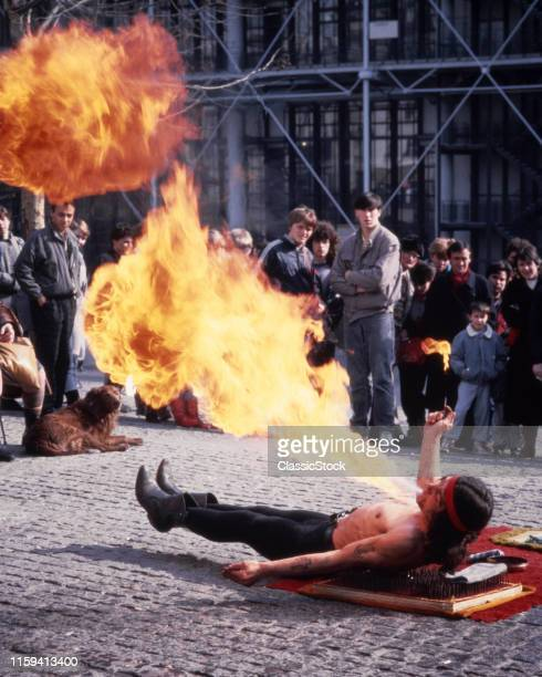 1980s FIRE BREATHER STREET PERFORMANCE ARTIST PARIS FRANCE