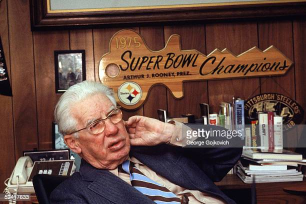 Founder and longtime owner Arthur J Rooney Sr of the Pittsburgh Steelers sits in his office circa 1980 at Three Rivers Stadium in Pittsburgh...