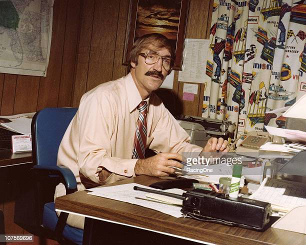 Jim Hunter at his desk while working for NASCAR as Vice President of Administration in the early 1980s