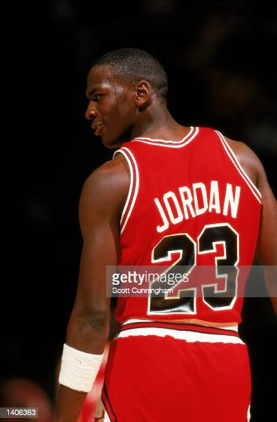 Michael Jordan of the Chicago Bulls looks over his shoulder during a game circa 1980's.