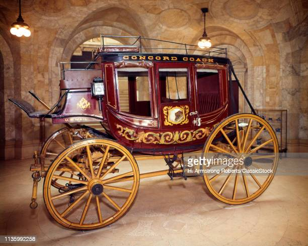 1980s NEW HAMPSHIRE HISTORICAL SOCIETY RED YELLOW CONCORD COACH STAGECOACH WAGON USED FOR MAIL DELIVERY