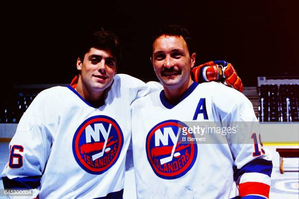 Pat Lafontaine and Bryan Trottier of the New York Islanders