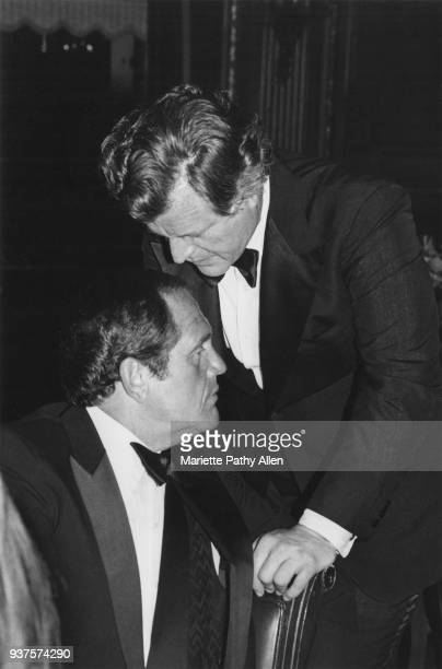 Senator Edward M Kennedy speaks with comedian Alan King at a black tie event