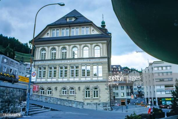 1980s street view in city center, st. moritz, switzerland - 1980 1989 stock pictures, royalty-free photos & images