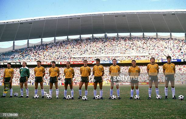 The Socceroos stand and sing the National Anthem before the match played between Australia and Argentina held at the Sydney Football Stadium Sydney...