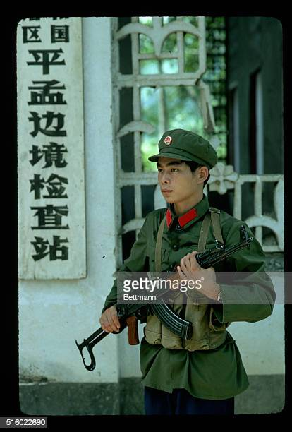 1983Pengmeng China A member of the People's Liberation Army guards the border at the SinoViet border town of Pengmeng in the Guangxi Province The...