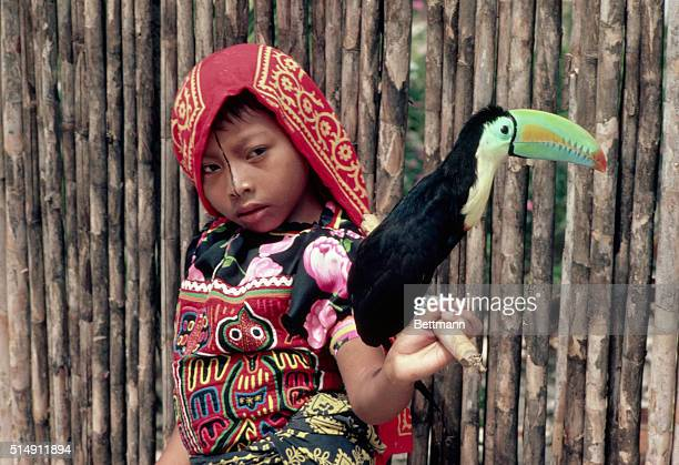 1983San Blas Island Panama Women of Kuna wear gold nose rings arm and leg bands sarongs and colorful Mola blouses They are among the most...