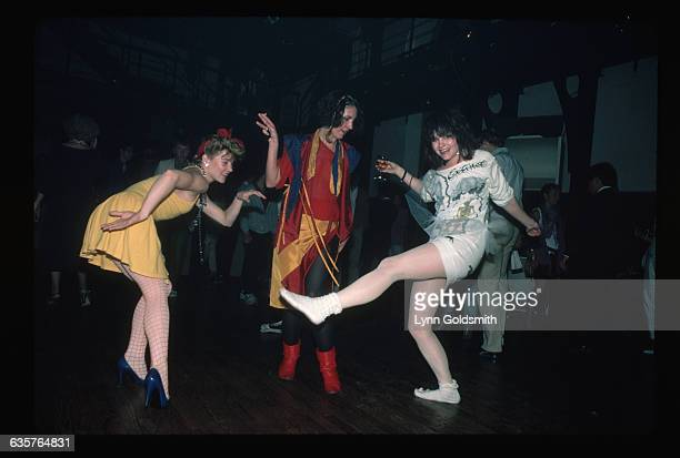 1984New York NY NYC clubs Photo shows three women dancing on the dancefloor at a nightclub in New York City