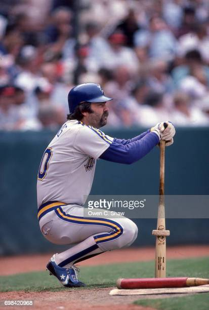 Gorman Thomas of the Seattle Mariners prepares to bat against the California Angels at the Big A circa 1986 in AnaheimCalifornia