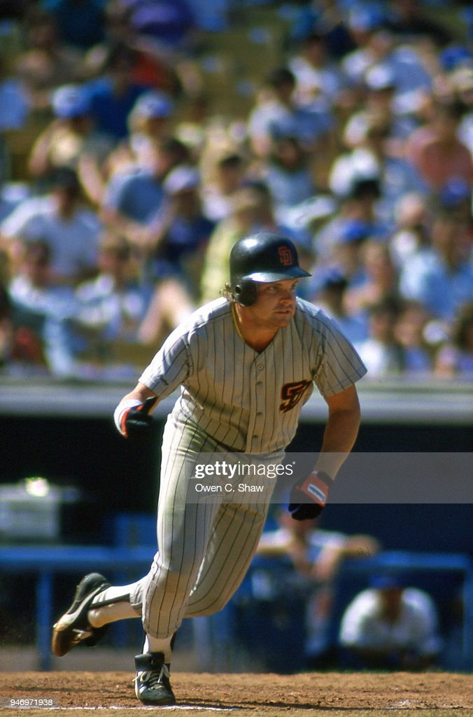 John Kruk of the San Diego Padres bats against the Los Angeles Dodgers at Dodger Stadium circa 1987 in Los Angeles,California.