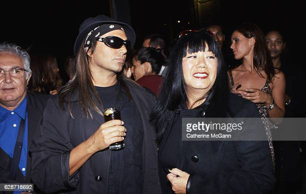 American fashion photographer Steven Meisel and American fashion designer Anna Sui pose for a photo at an unidentified event in the mid 1990s in New...
