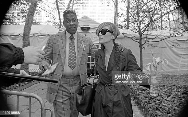 Andre Leon Talley and Kristen McMenamy during fashion week in the mid 1990s in New York City New York