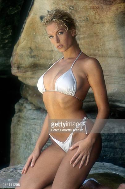 Australian model Annalise Braakensiek during a photo shoot at Bondi Beach in the 1990s in Sydney Australia