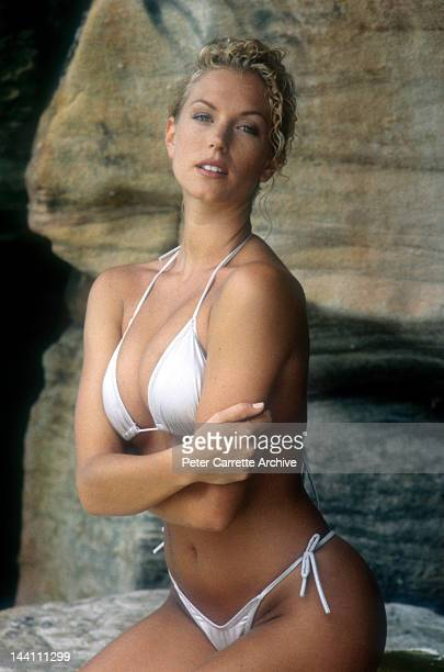 Australian model Annalise Braakensiek during a photo shoot at Bondi Beach in the 1990s in Sydney Australia