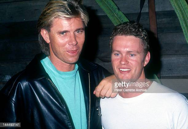 Australian singer and actor Craig McLachlan with Richard Wilkins in the 1990s in Australia