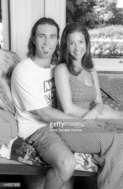 Australian tennis player Pat Cash and his wife Emily Bendit supporting the Planet Ark environmental organisation in the 1990s in Australia