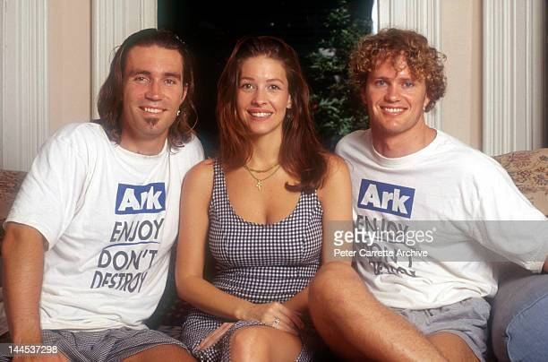 Australian tennis player Pat Cash his wife Emily Bendit and actor Craig McLachlan supporting the Planet Ark environmental organisation in the 1990s...