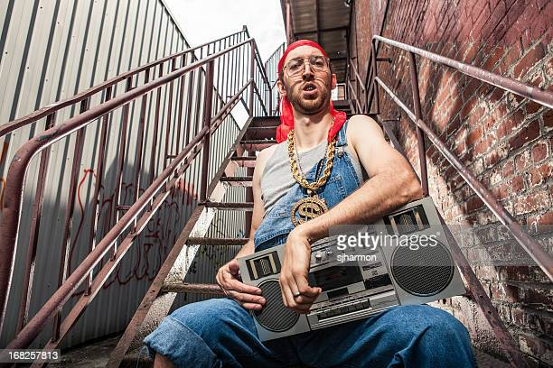1990s boom box holding doo rag wearing white man - bling bling stock pictures, royalty-free photos & images