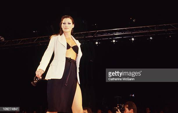 Carre Otis walks the runway at a fashion show in the mid 1990s in New York City New York